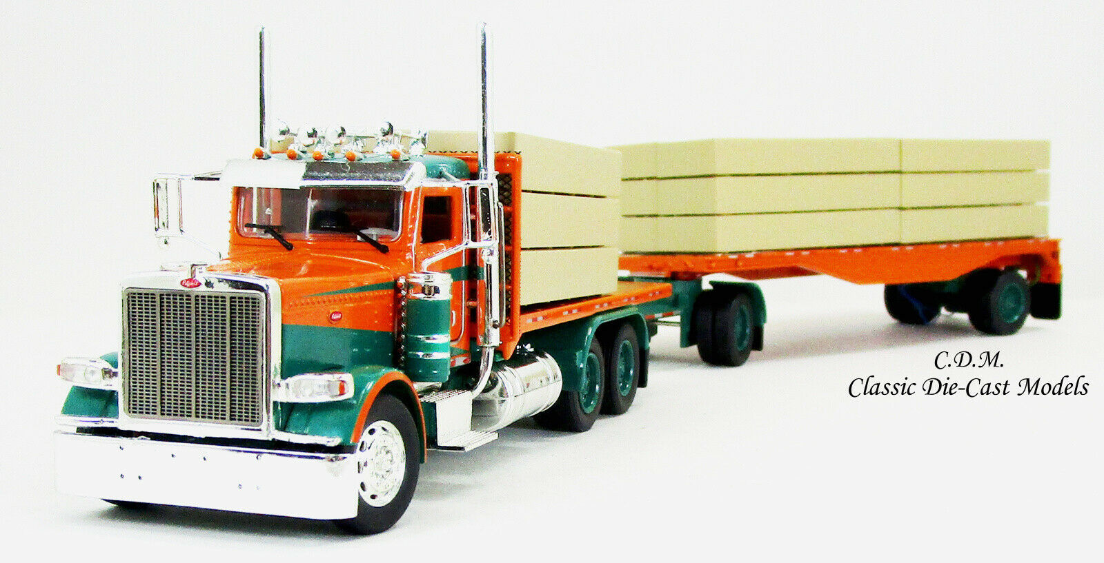 Peterbilt 389 Orange Green Truck W Flatbed Trailer Lumber Load 1 53 Tonkin 90002 857345115179 Ebay