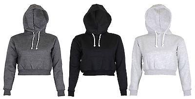 New Womens Plain Hangover Crop Top Hooded full length Sleeves Hoodie Sweatshirt
