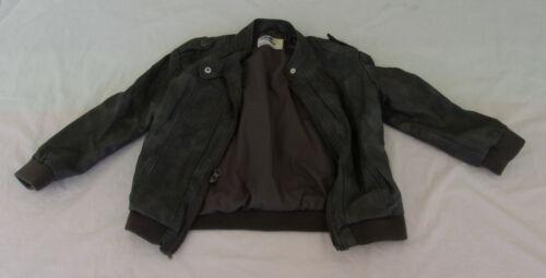 Oshkosh Bomber Jacket 5T Toddler Gray Faux Leather Washable