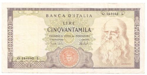Italy COLLECTOR BANKNOTE 1972 50000 Lire Pick 99c Leonardo Da Vinci VF+