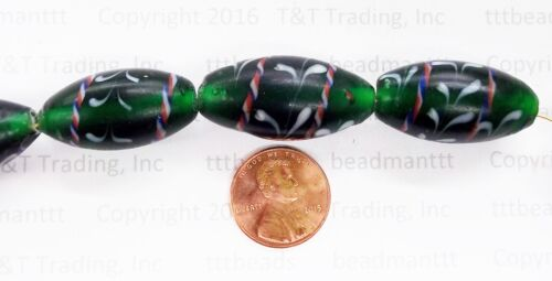 5-  GREEN Lewis & Clark Trade Beads   antique style Trade Beads  TT2416