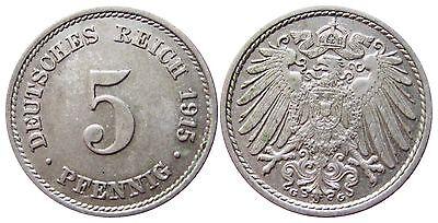 J 12   5 Pfennig Kaiserreich 1915 G in VZ-STG  502869