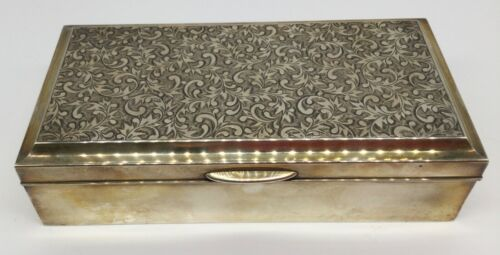 Sterling Silver 95 Jewelry Trinket Box Wood Chased Engraved Vintage Antique