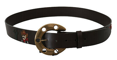 DOLCE & GABBANA Belt Brown Leather Gold Horseshoe Buckle s. 95cm / 38in RRP $500