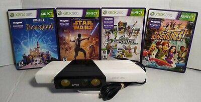 Microsoft Xbox 360 White Motion Sensor Kinect w Nyko Zoom Microsoft & 4 Games