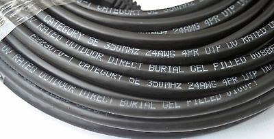 - 125'Ft Cat5e Gel Filled UV Outdoor Direct Burial Flood Cable Network Ethernet