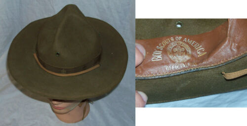 Vintage 1950s-60s Official BOY SCOUTS OF AMERICA Leader Hat Scoutmaster Felt BSA