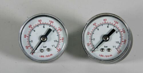 0-160psi Air Pressure Hydraulic Gauge Meter 1/8inch NPT - 2 Pieces