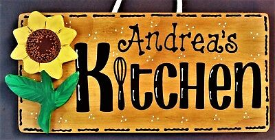 - Personalize SUNFLOWER KITCHEN Name SIGN Wall Hanger Hanging Plaque Country Decor