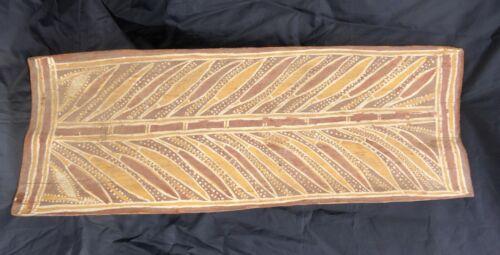 Beautiful Old Vintage Australian Aboriginal Bark Ochre Painting  Floral Art