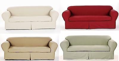 All Cotton Brushed Twill 2-piece Sofa Couch Slip cover IN 4 COLORS THICK FABRIC Brushed Twill Sofa Slipcover