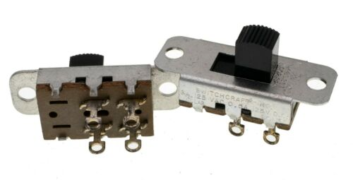 Switchcraft 46204LRX, 2-Position DPST Panel Mount Slide Switch, Lot of 10