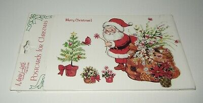 Vtg Marian Heath 8 Christmas Postcards Santa with Flower Tree  Sealed ()