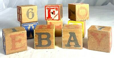 10 Vintage ABC Children's Wooden Blocks Letters Numbers Painted Learning Toy
