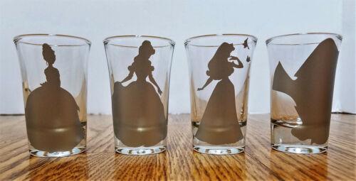 4 DISNEY silver SHADOW SILHOUETTE shot glasses shotglasses bar barware