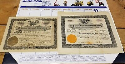 Pair 1911 Porcupine Imperial Gold Mining Company Stock Certificates 1000 Shares