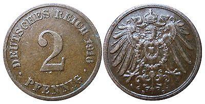 J 11   2 Pfennig Kaiserreich 1916 D in VZ  502852
