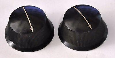 """Vintage Pair Black Bakelite 1 1/2"""" Tube Radio Arrow Knobs Ham Transmitter Knobs"""