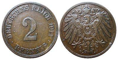 J 11   2 Pfennig Kaiserreich 1911 J in VZ-STG  502853