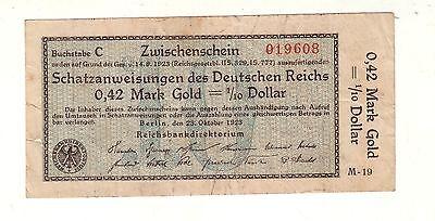 0,42 Goldmark Wertbeständiges Notgeld 23.10.1923 Rosenberg 139a (105428)