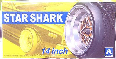 Aoshima 052587 Felgen Star Shark 14 Zoll inkl. Reifen 1:24