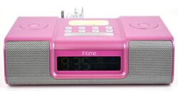 iHome Model iH9 Pink Alarm Clock Speaker System With Dock For iPod - No Remote