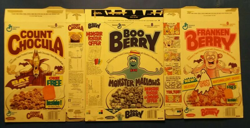 Count Chocula Franken Berry Boo 88/90 monster cereal box lot 3 boxes Halloween