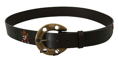 DOLCE & GABBANA Belt Brown Leather Gold Horseshoe Buckle s. 110cm /44in RRP $500