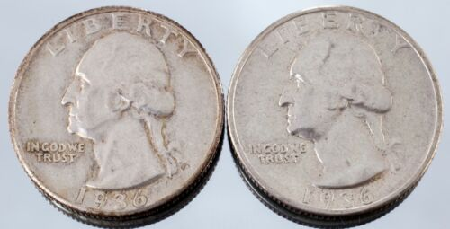 Lot of 2 1936 Washington Quarters (P + S) AU Condition, Nice Luster for Grade