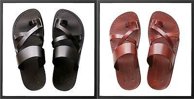 100% Leather Brown Black Roman Jesus Sandals Men Strap Handmade US 5-13 EU - Mens Roman Sandals
