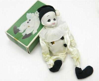 Vintage White Creepy Halloween Porcelain Clown Doll with Box
