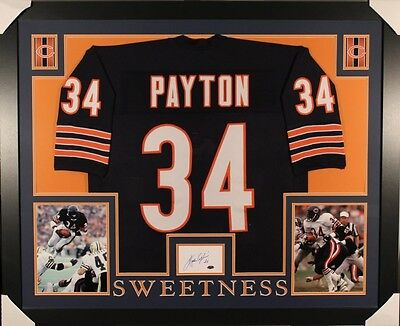 eadbe715443 Walter Payton Signed Bears 35x43 Framed Display with Jersey & Signed Index  Card