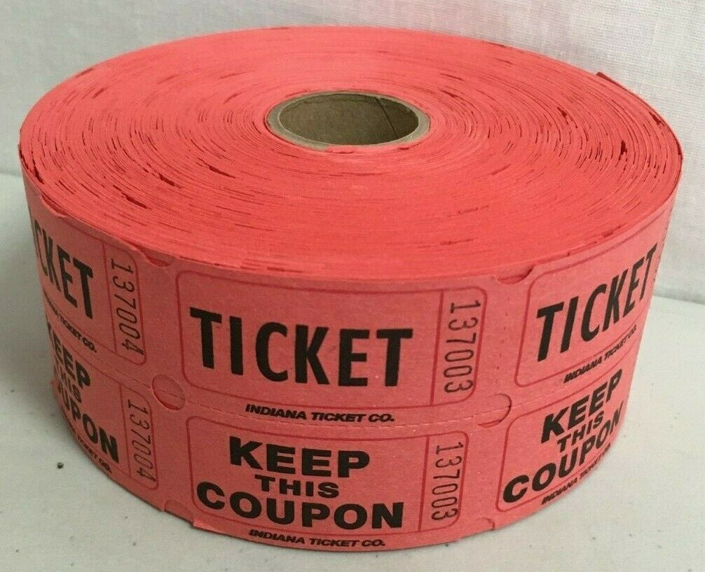 1000 DOUBLE STUB ROLL 50//50 RAFFLE TICKETS RED-NEW//SEALED