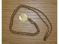 Gold chain 18ct handmade in 1860 with gold Indian Princess Head minted in 1859 1 dollar coin