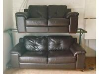 Dark Brown leather suite (Delivery Included)