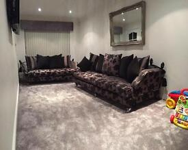 2 piece suite 4 seater sofa & 2 seater drop arm knoll style Rrp £2,750 sofology black grey silver