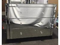 Mirrored Bedroom Chest of Drawers & Bedside Table