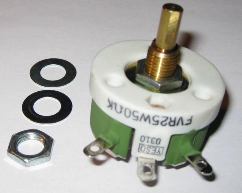 "Yeso Wirewound Rheostat 50 Ohms - 25 Watts - 3/8"" Bushing w/ Hardware - FVR25W50"