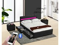 Exclusive Harmin Music, Storage, LED, Leather Bed - Single, Double or King Size