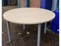 Round Oak Effect Table Desk 4 Legs 4 foot & 1200mm Diameter