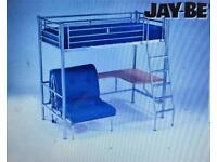 Jaybe high sleeper bed frame with desk and futon