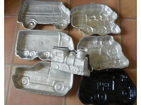 7 Wilton cake tins :camper van,trains(steam ,Thomas and 3d), lorry,tractor, range rover,