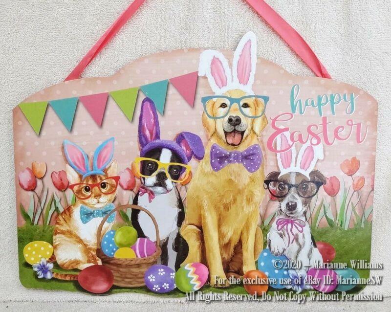 NEW HAPPY EASTER WALL DOOR HANGING DOGS & CAT BOSTON TERRIER & GOLDEN RETRIEVER