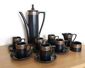 Portmeirion Pottery - Black & Gold Greek Key Coffee Set - Susan Williams Ellis
