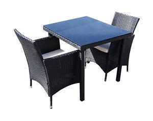 3tlg. Balkonmöbel Set Polyrattan Sitzgarnitur Sitzgruppe Gartenmöbel GM3PRA 80