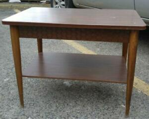 Oakville 1960s RETRO SIDE TABLE Solid Wood Vintage mid-century MCM Antique Legs Golden Age Atomic pointy legs metal feet