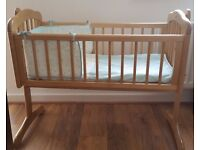 Mothercare Swinging Crib with Mothercare Airflow Foam Crib Mattress and Crib Bale