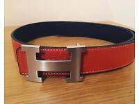 Men's Hermes belt orange black reversible