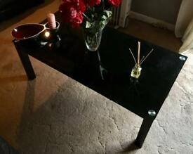 Large, Black, Glass Top TV-Coffee Table