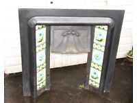 (#314) Tiled cast iron fire surround #305 (Pick up only, Dy4 area)